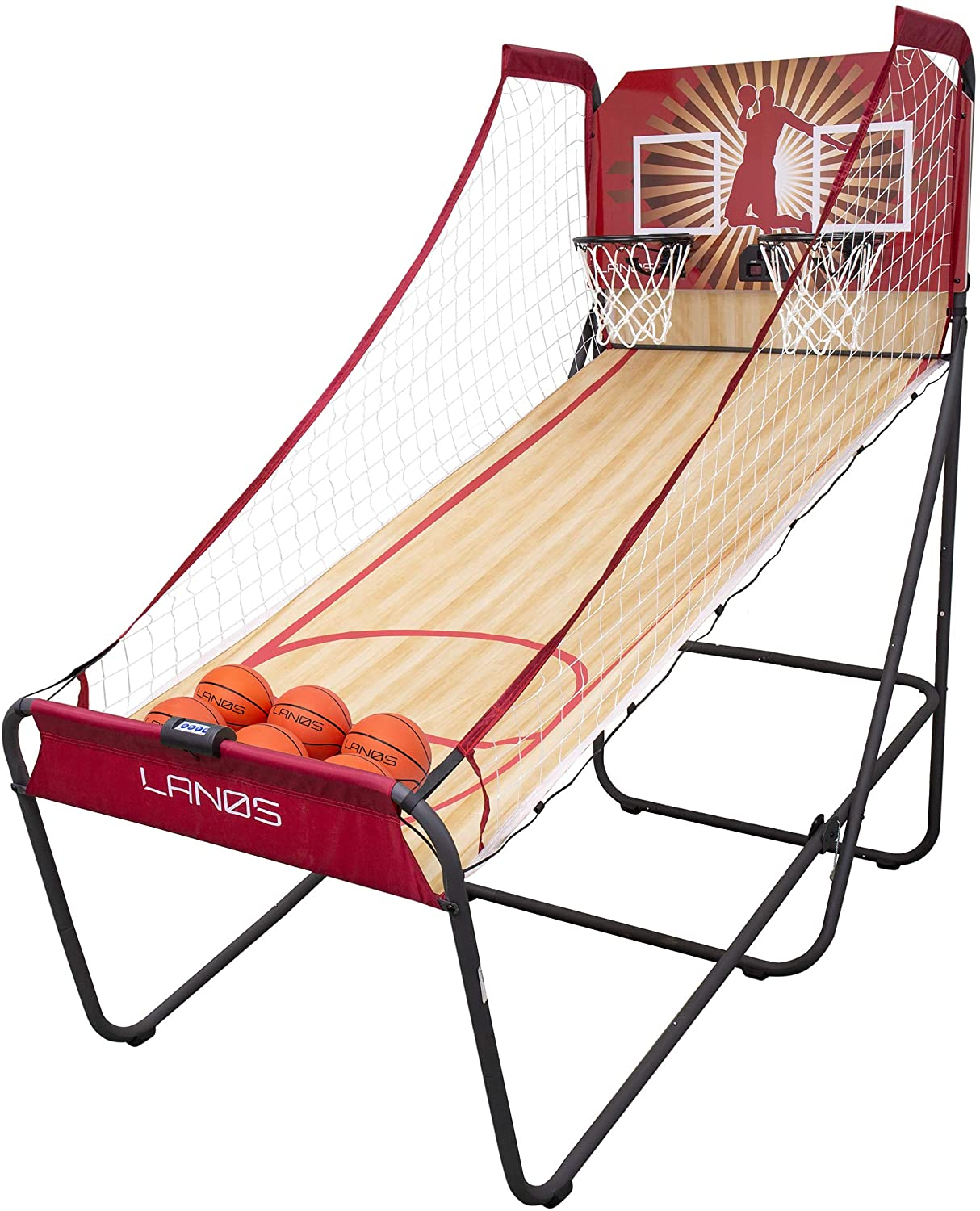 Lanos Basketball Arcade Game, Double Electronic Hoop Shot, 2 Player or 1 Player, with 6 Basketballs - Indoor Basketball with 8 Game Modes - Premium Arcade Games for Home