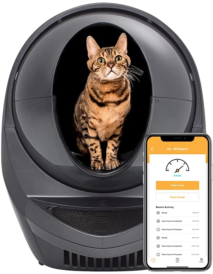 Litter-Robot 3 Connect - Automatic, Self-Cleaning Litter Box for Cats - Designed and Assembled in The USA - WiFi-Enabled Litter Box - Grey - Never Scoop Again - Odor Control