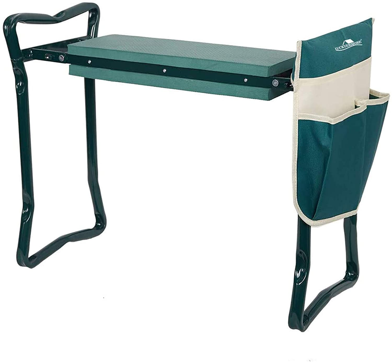 LUCKYERMORE Garden Kneeler and Seat Heavy Duty Gardening Bench for Kneeling and Sitting Folding Garden Stools with Tool Pouch and Kneeling Pad