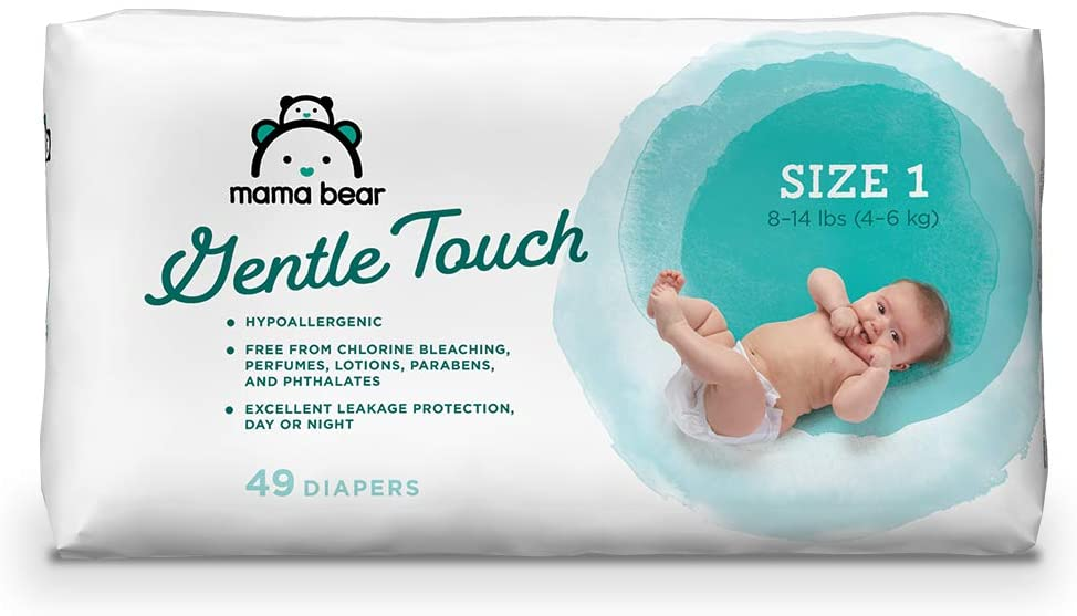 Mama Bear Gentle Touch Diapers, Hypoallergenic, Size 1, 49 Count