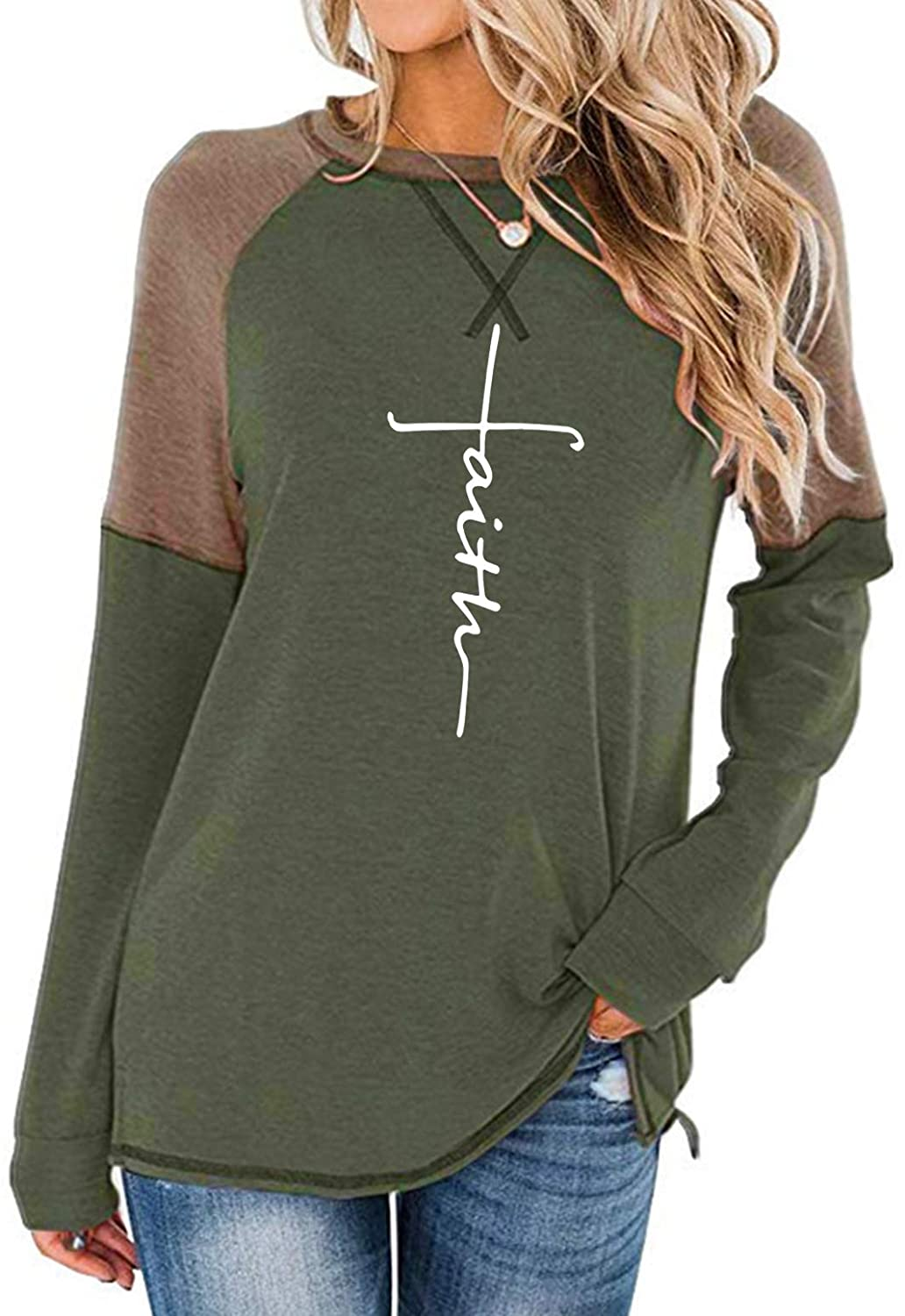 MANSY Women's Letter Print Graphic T Shirt Casual Long Sleeve Crewneck Color Block Side Split Blouse Tunic Tops