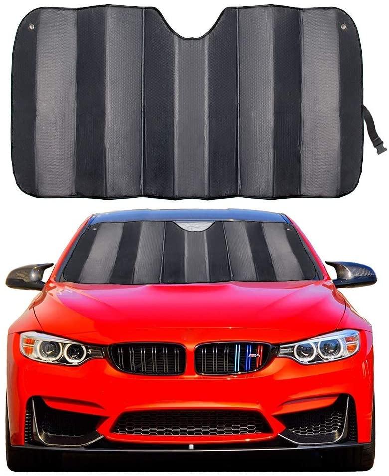 "MCBUTY Car Windshield Sunshade Thicken 5-Layer UV Reflector Auto Front Window Sun Shade Visor Shield Cover,Keep Vehicle Cool(Gary,57"" × 27.5"")"