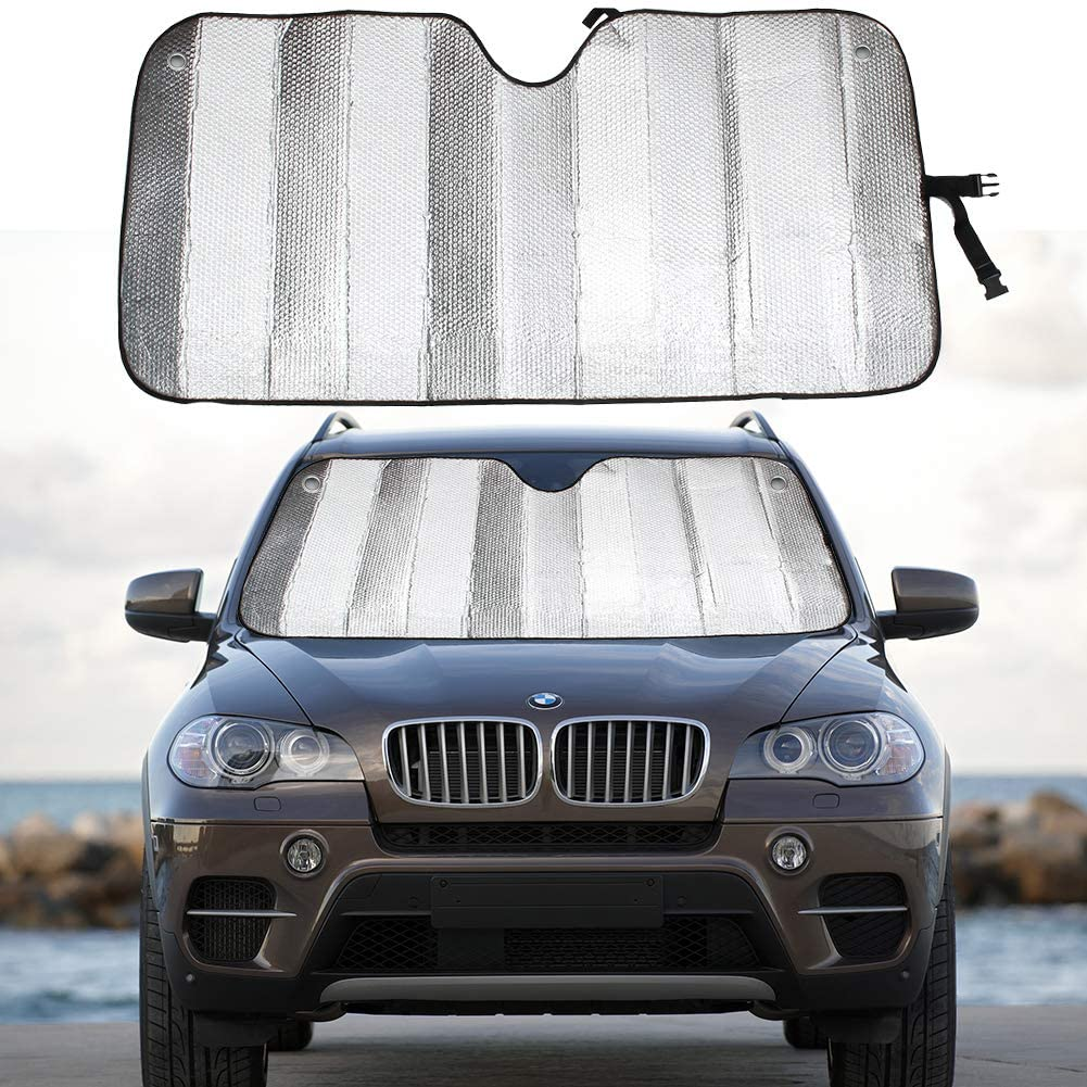 """MCBUTY Windshield Sun Shade for Car Silver Thicken 5-Layer UV Reflector Auto Front Window Sunshade Visor Shield Cover and Keep Your Vehicle Cool(57"""" × 27.5"""")"""