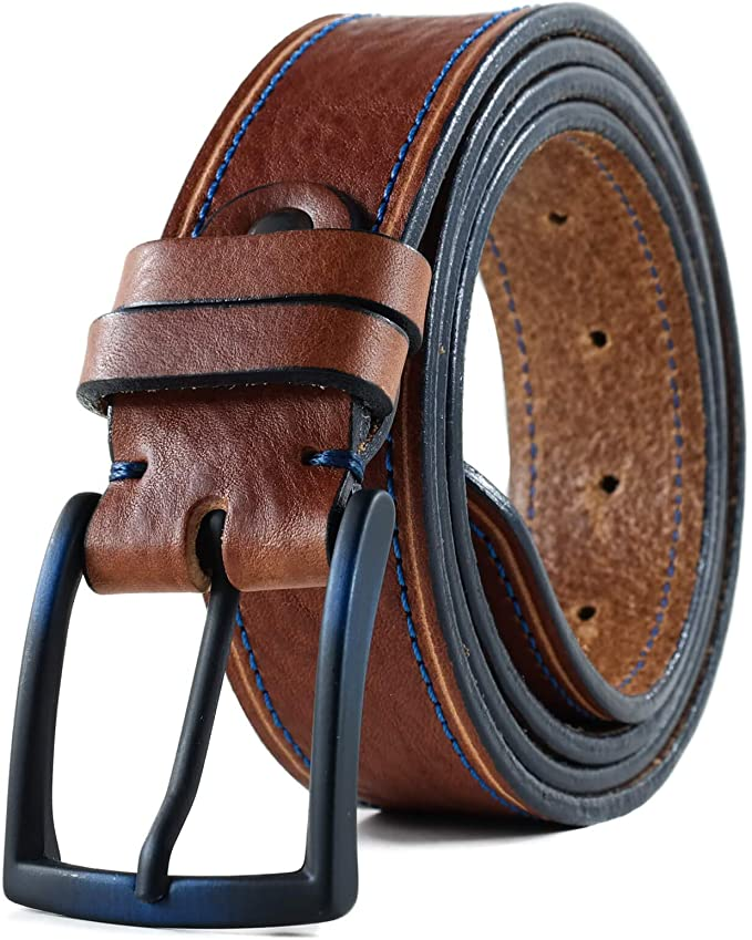 Men's Handmade Custom Full Grain Leather Belt, Casual Jeans Leather Belt In Giftbox (HoffeBelts Prime Collection)