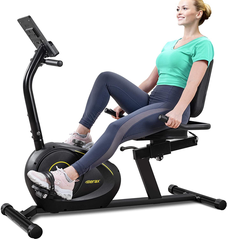 Merax Indoor Recumbent Exercise Bike Stationary Cycling Bike with Bluetooth, 8Level Magnetic Resistance, Adjustable Saddle