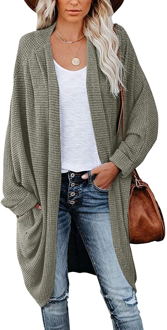MEROKEETY Women's Waffle Knit Batwing Long Sleeve Cardigan Loose Open Front Sweater Coat