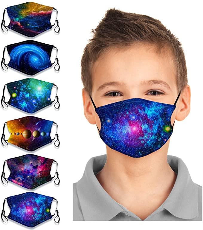 Micyon 6Pcs Kids Face Bandanas Breathable Cotton Dust Protection Boys Girls