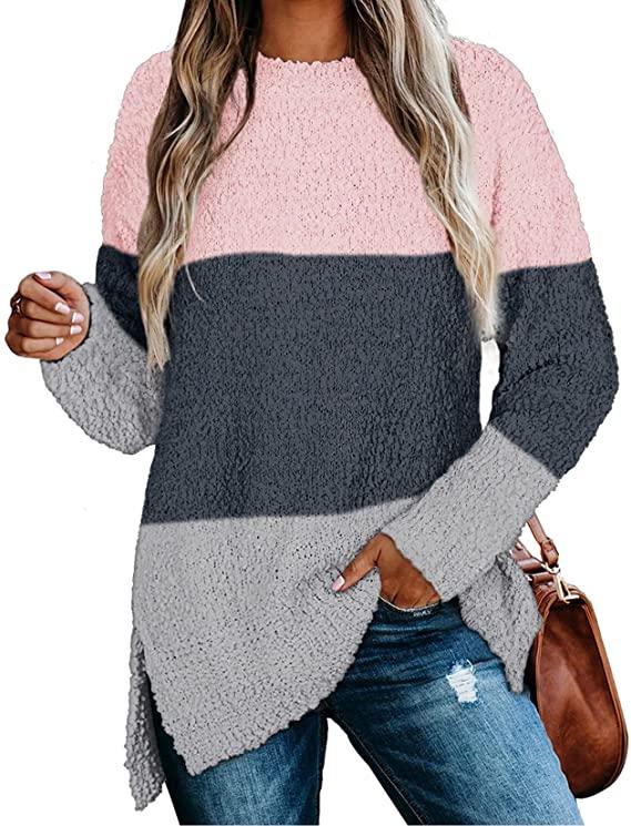 NIASHOT Womens Sweaters Crewneck Long Sleeve Side Slit Tunic Tops for Leggings
