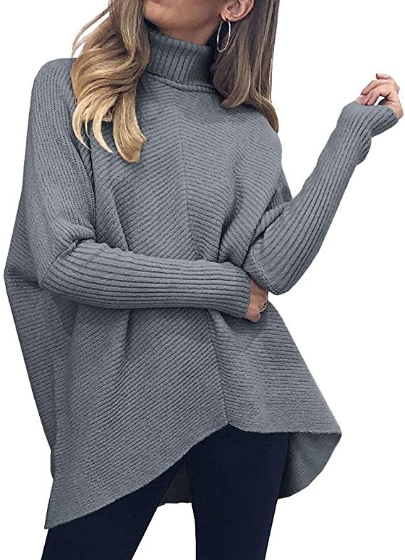 Nunayeboda Womens Turtle Neck Batwing Sleeve Pullover Sweaters Oversized Asymmetric Hem Fall Knit Tops