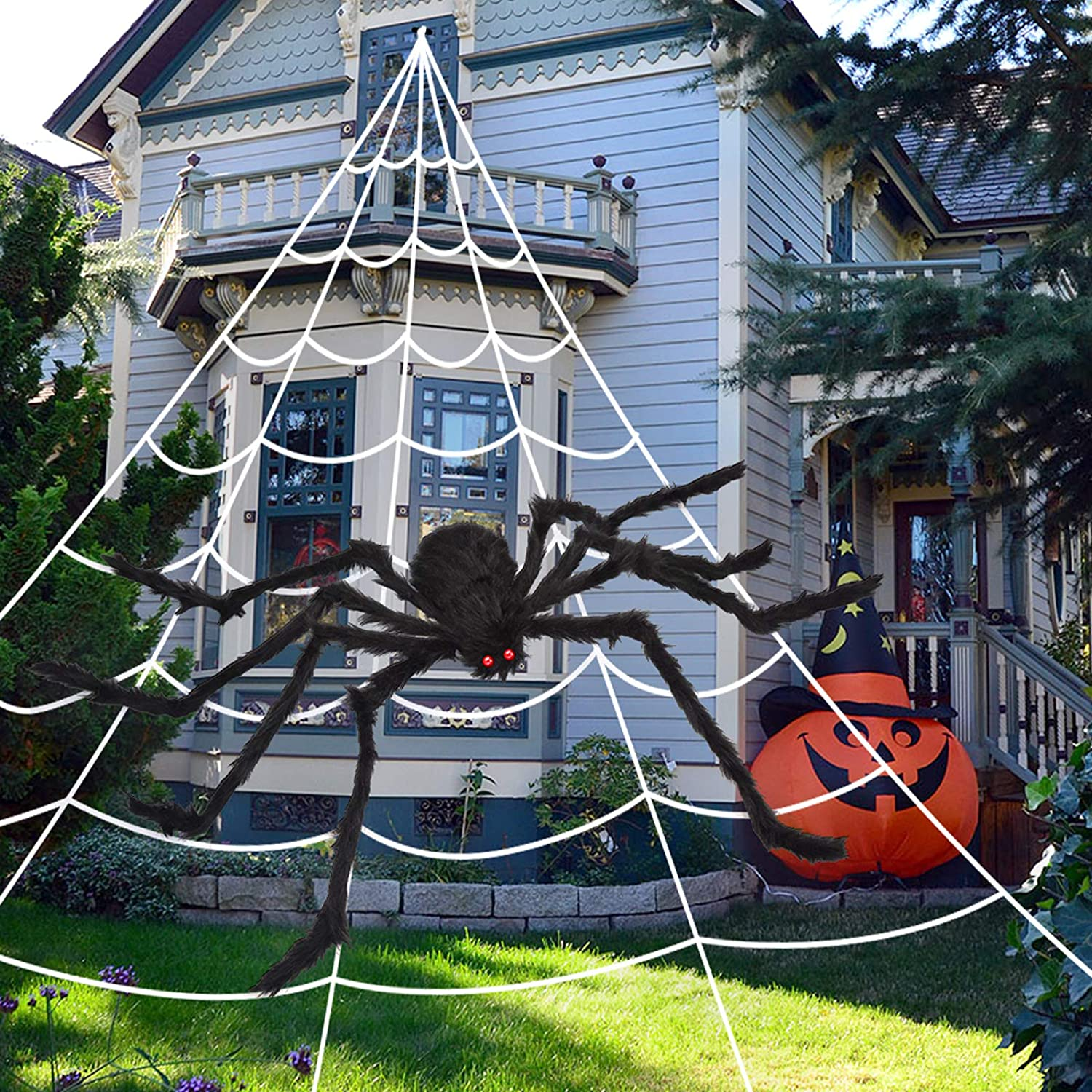 """OCATO 200"""" Halloween Spider Web + 59"""" Giant Spider Decorations Fake Spider with Triangular Huge Spider Web for Indoor Outdoor Halloween Decorations Yard Home Costumes Parties Haunted House Décor"""