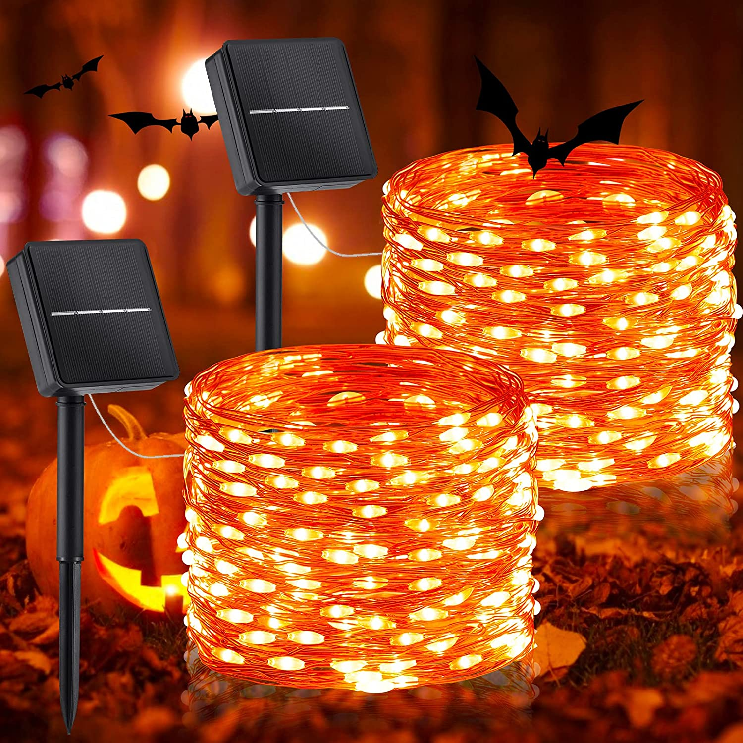 Outdoor Solar Halloween String Lights, 2 Pack 33 Feet 100 Led Solar Powered Fairy Lights with 8 Modes Waterproof Decoration Copper Wire Lights for Patio Yard Trees Christmas Wedding Party (Orange)