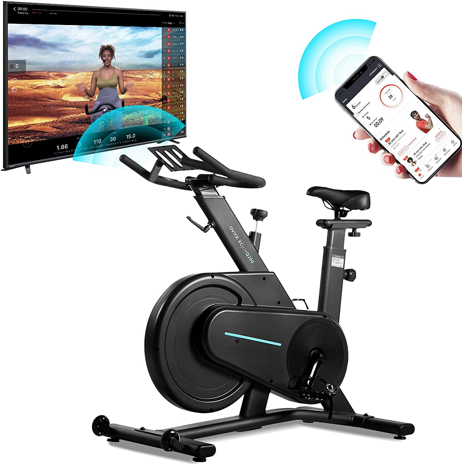 OVICX Magnetic Stationary Bike with Bluetooth Adjustable Professional Handlebar Belt Drive Indoor Cycling Workout Bike for Home Gym Workouts