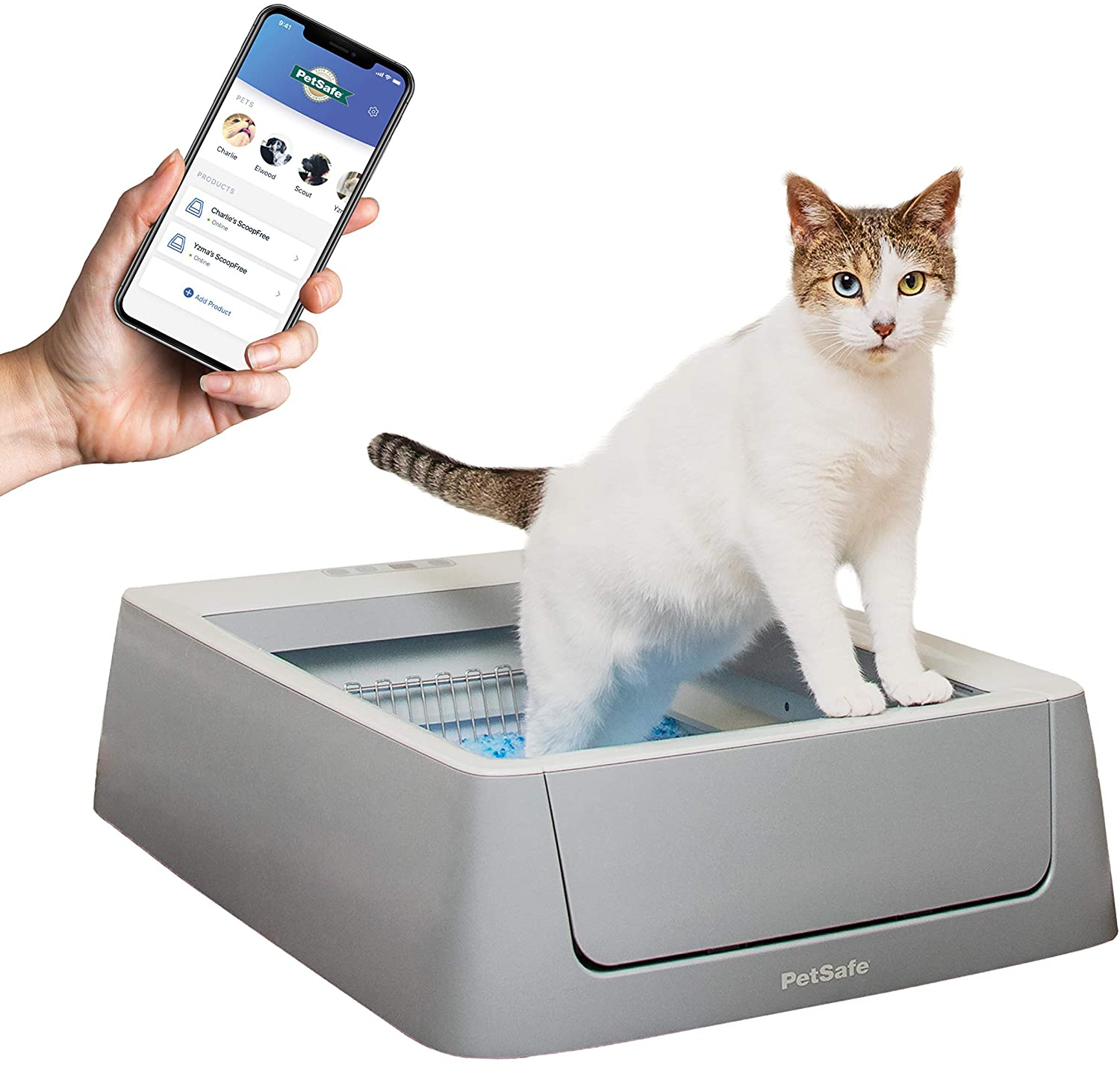 PetSafe ScoopFree Automatic Self-Cleaning Cat Litter Boxes - 2nd Generation or Smart, WiFi Connected, iOS or Android App Tracking - Includes Disposable Litter Tray with Premium Blue Crystal Cat Litter