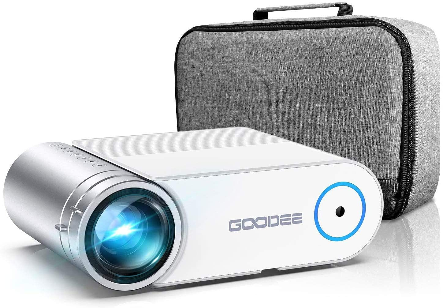"""Projector, GooDee 2021 G500 Video Projector 6000L, 1080P and 200"""" Supported Portable Movie Projector with 50,000 Hrs Lamp Life, Home Theater Projector Compatible with TV Stick, HDMI, Phone (YG420)"""