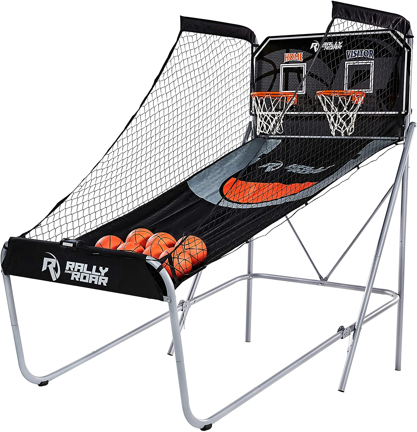 Rally and Roar Folding Indoor Arcade Basketball Game, 2 Hoops, LED Scoreboard, 7 Balls and Pump