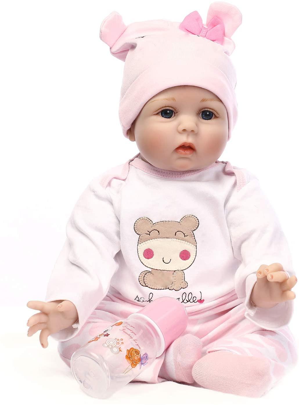 Reborn Baby Dolls 22 inch,Quality Realistic Handmade Babies Dolls Girls Soft Vinyl Silicone Lifelike Kids Gifts / Toys Age 3+, EN71 Certification