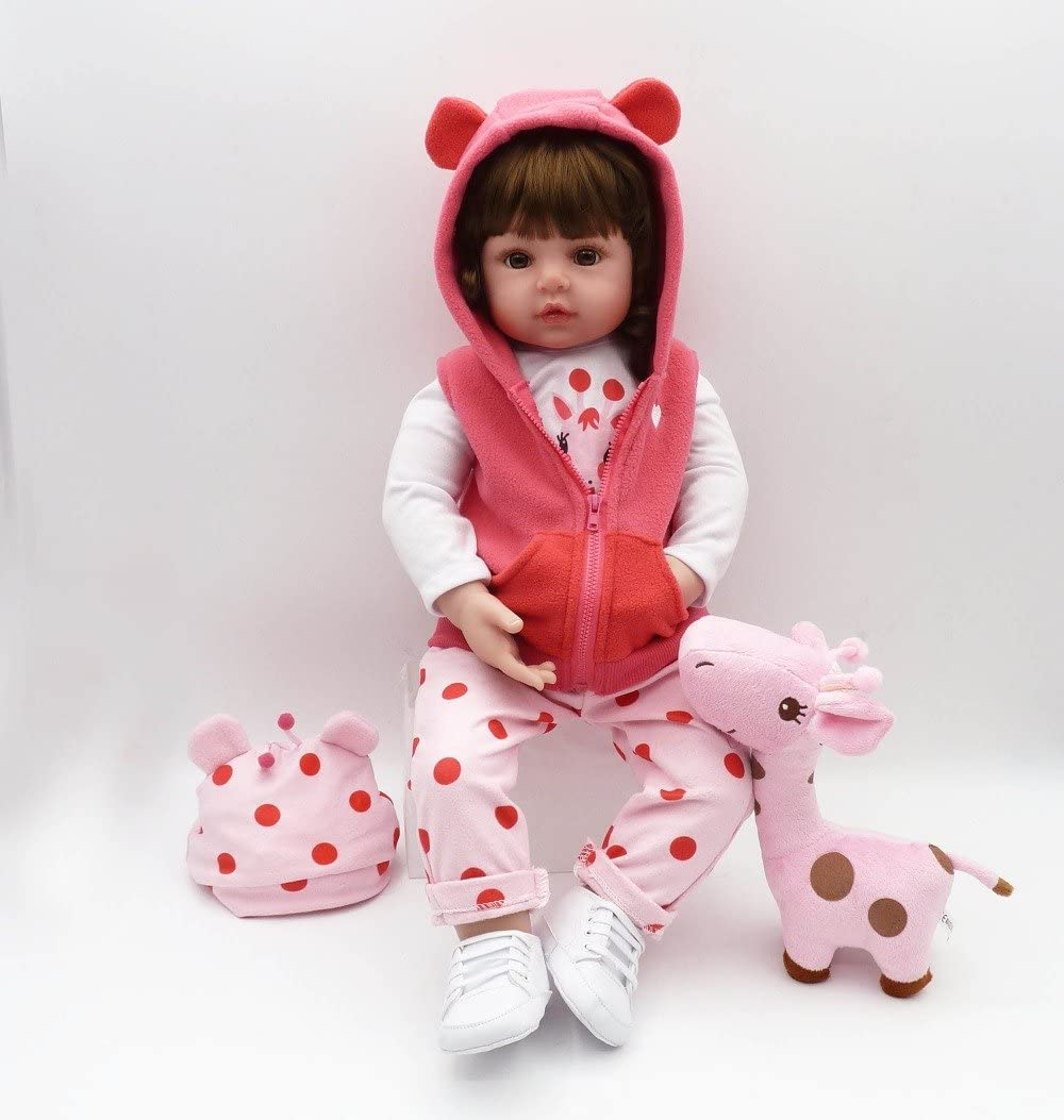 Reborn Baby Dolls Handmade Soft Silicone Babies Realistic Looking Newborn Toddler Dolls Girl Gift (19inch Doll)