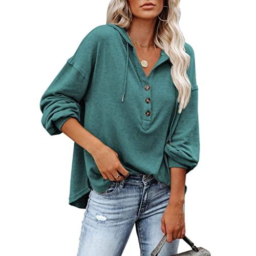 REVETRO Womens V Neck Long Sleeve Henley Shirts Button Down Sweatshirts Hoodies Tunic Tops with Drawstring