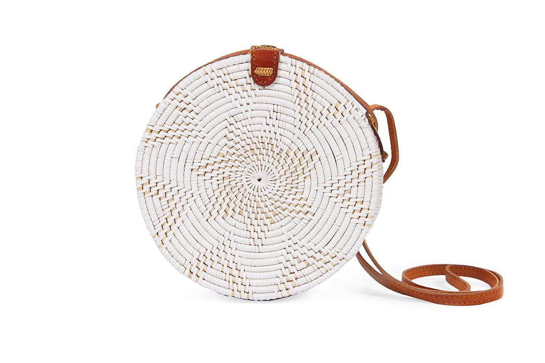 Round White Basket Shoulder Bag for Women