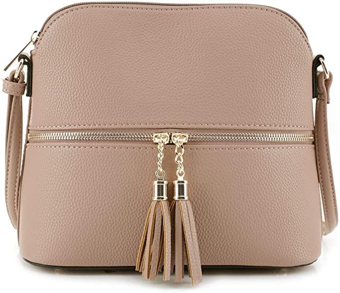 SG SUGU Lunar Lightweight Medium Dome Crossbody Bag Shoulder Bag with Tassel | Zipper Pocket | Adjustable Strap