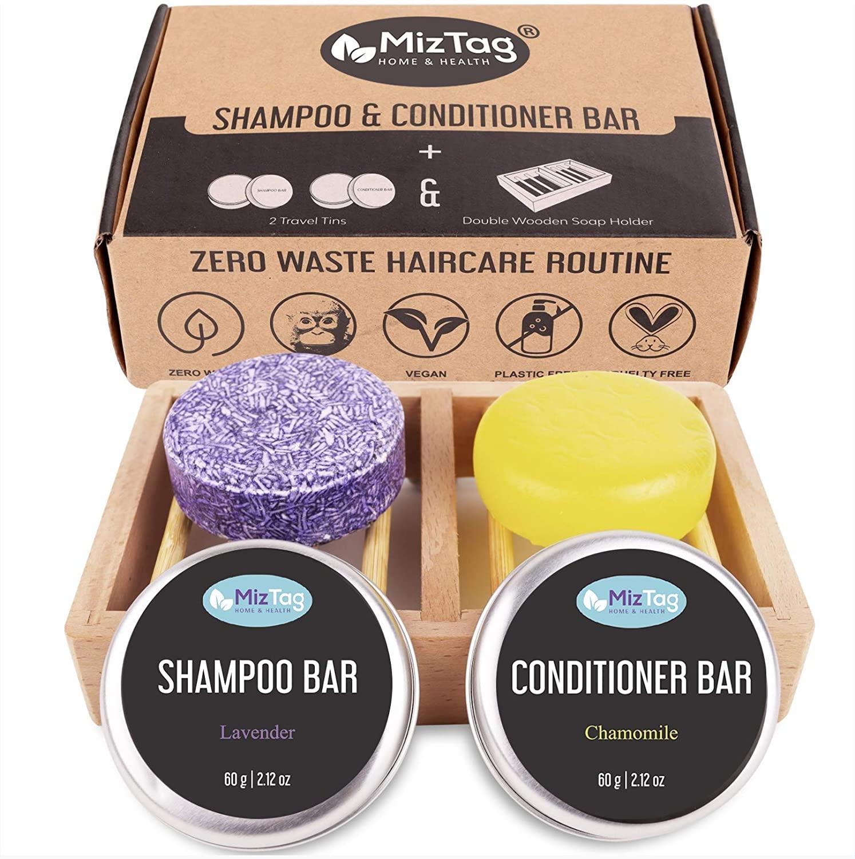 Shampoo Bar and Conditioner - Shampoo Bars for Hair - Solid & All Natural Soap Bar Shampoo - 100% Zero Waste - 1 Bamboo Wooden Shampoo bar holder & 2 Travel Tins included - (5pc Set)