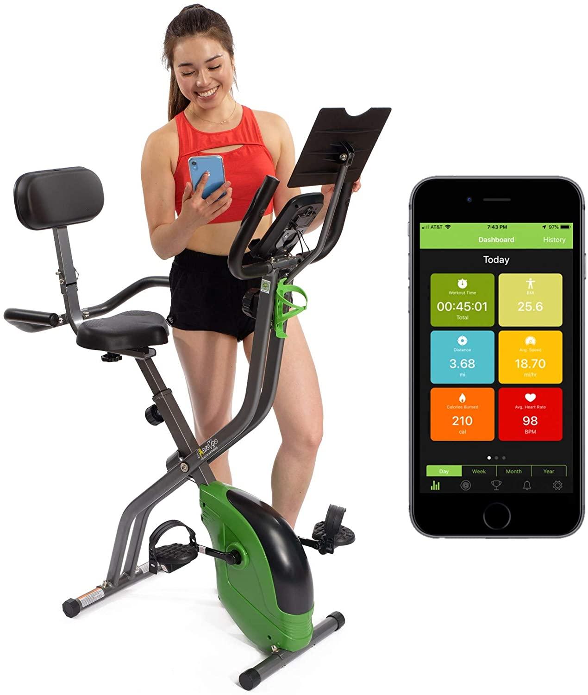 ShareVgo Bluetooth Smart Folding Semi Recumbent Magnetic Upright Exercise Bike with free APP for Indoor Bike Workout Log and Track, Backrest, Pulse Sensors and Tablet Holder - SXB1000