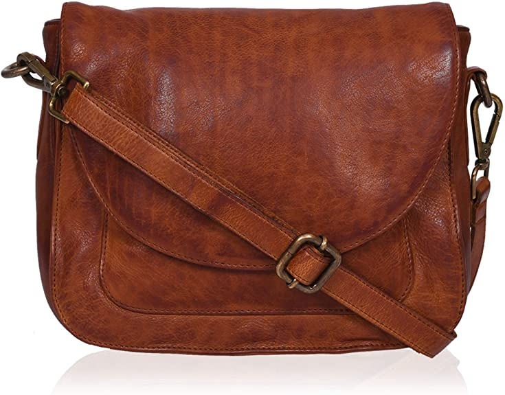 Small Vintage Look Genuine Leather Shoulder Crossbody Purse Crossover Bag for Women