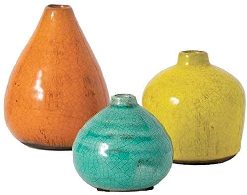 Sullivans Ceramic Vase Set- 3 Small Vases, Rustic Home Décor, Modern Farmhouses; Ideal Shelf Décor, Table Décor, Bookshelf, Mantle, Multicolored (CM2219)