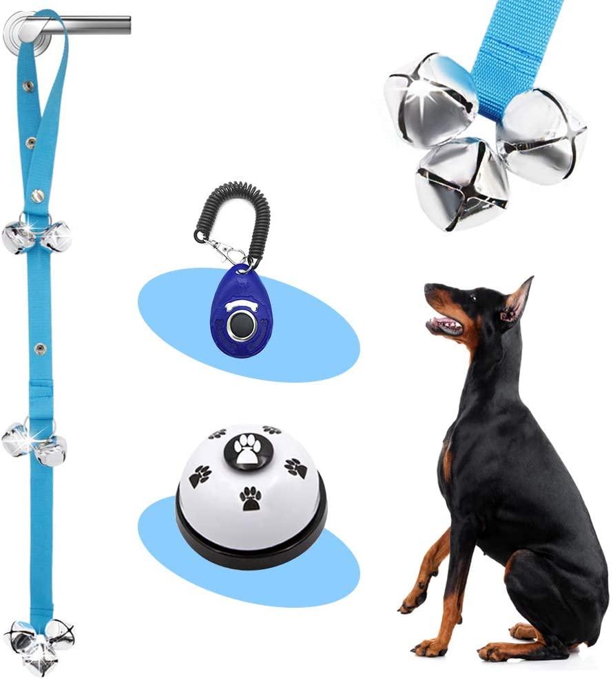 Supet 4 Pack Dog Doorbells Premium Dog Potty Training Bells and Dog Training Clicker Adjustable Dog Bells for Dog Door Knob, Puppy Training- 1 Dog Clicker/1or 2 Door Bells/1 Training Bell