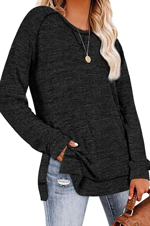 SWEET POISON Womens Lightweight Color Block Shirts Long Sleeve Pullover Tunics Tops