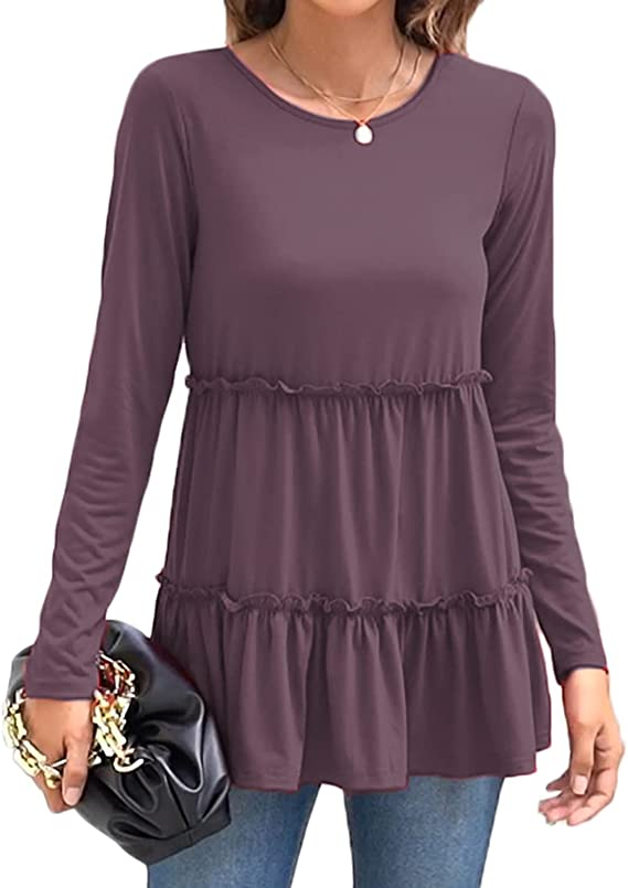 Sweetnight Women's Cute Long Sleeve Tops Casual Loose Tunic Shirt Fall Clothes
