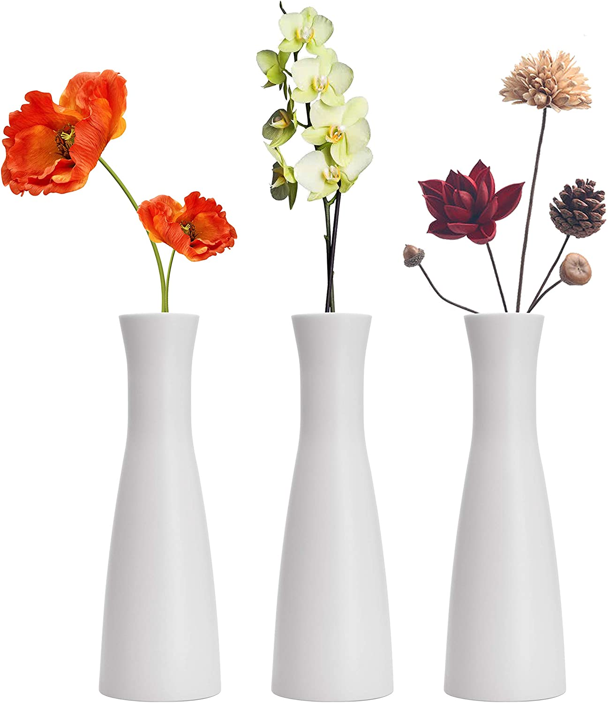 Tall Conic Composite Plastics Flower Vase, Small Bud Decorative Floral Vase Home Decor Centerpieces, Arranging Bouquets, Connected Tubes (Wide Caliber)