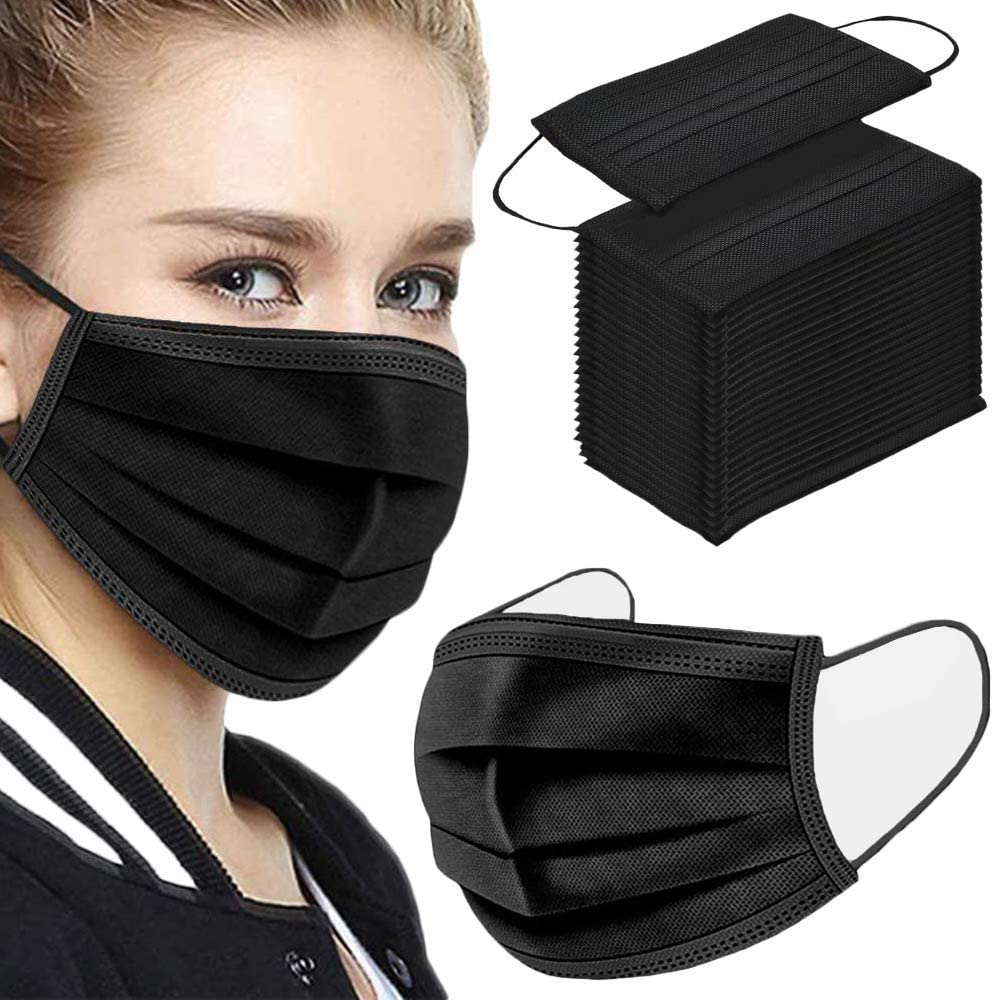 TecUnite 100 Pack Disposable Face Masks Breathable Dust Filter Masks Mouth Cover Masks with Elastic Ear Loop (Black)