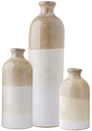 TERESA'S COLLECTIONS Ceramic Rustic Vase for Home Decor, Set of 3 Glazed Brown and White Decorative Vases for Table, Mantel, Living Room Decoration, 12 inch