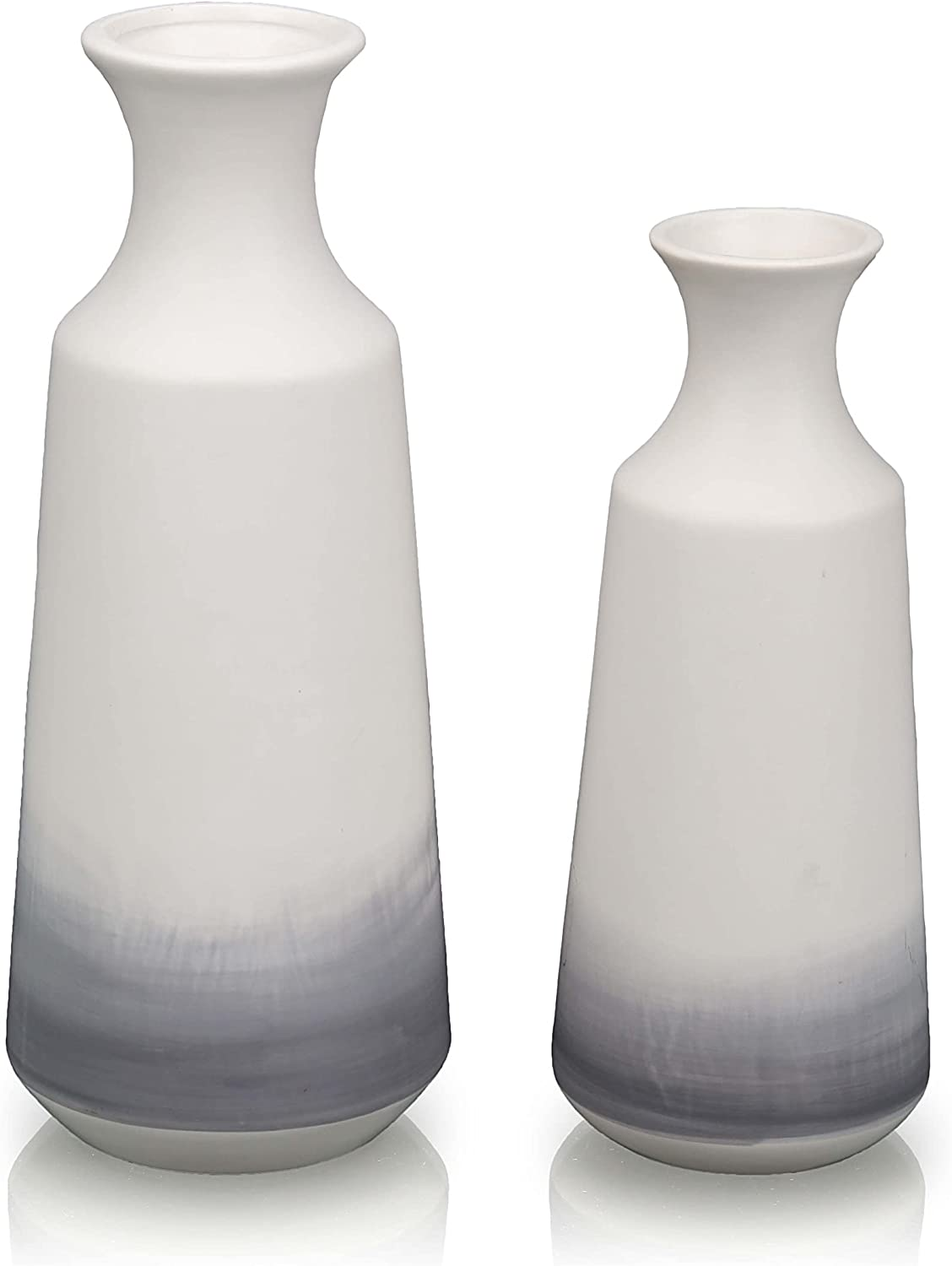 """TERESA'S COLLECTIONS Modern White and Grey Ceramic Vase for Home Decor, Set of 2 Elegant Decorative Vases for Mantel, Fireplace, Living Room Decoration, 12"""" &9.8"""" Tall"""