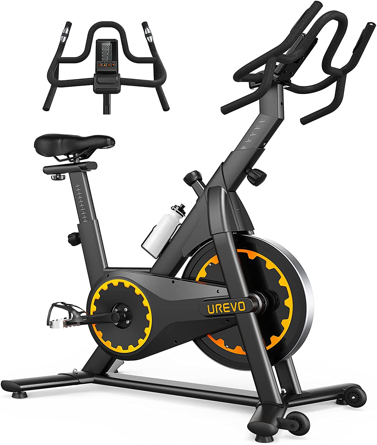 UREVO Exercise Bike Stationary, Indoor Cycling Bike Belt Drive for Home Gym Comfortable Seat, Exercise Workout Machine 35 LBS Flywheel Belt Drive with Zwift Bluetooth APP, Heart Rate & Tablet Holder