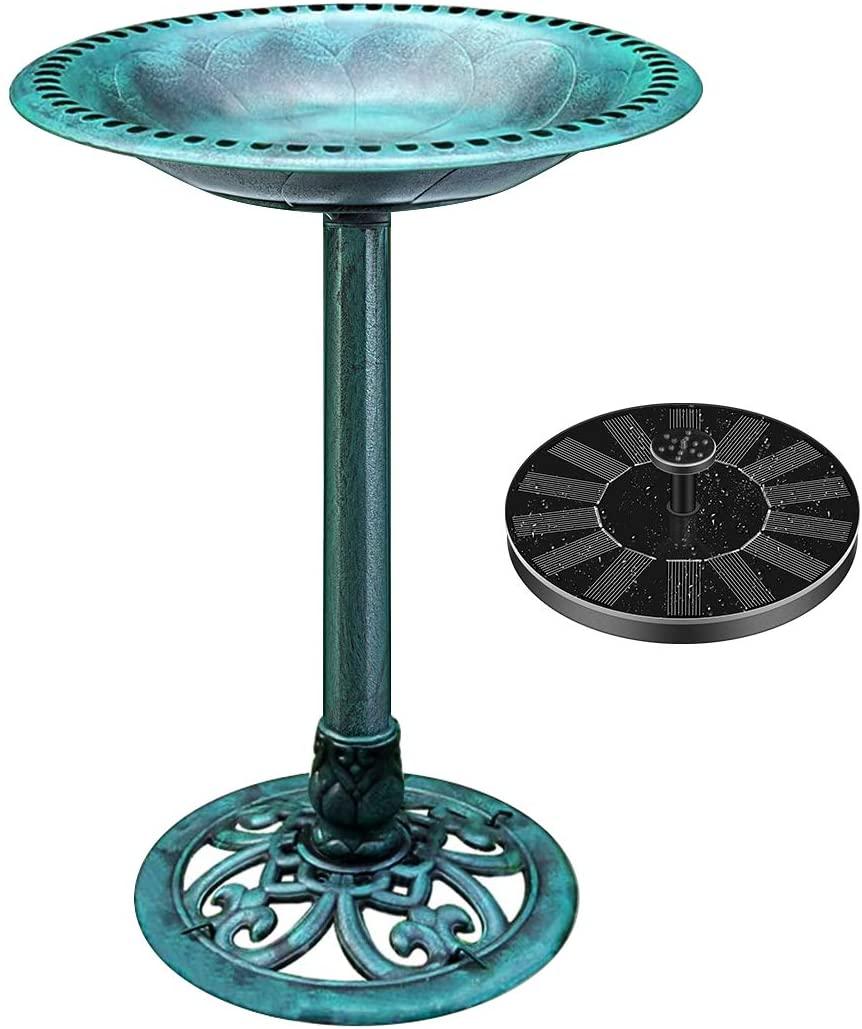 VIVOHOME Polyresin Antique Outdoor Green Garden Bird Bath and Solar Powered Round Pond Fountain Combo Set