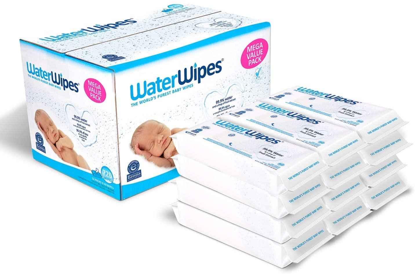 WaterWipes Original Baby Wipes, 99.9% Water, Unscented & Hypoallergenic, for Newborn Skin, 12 Packs (720 Count)