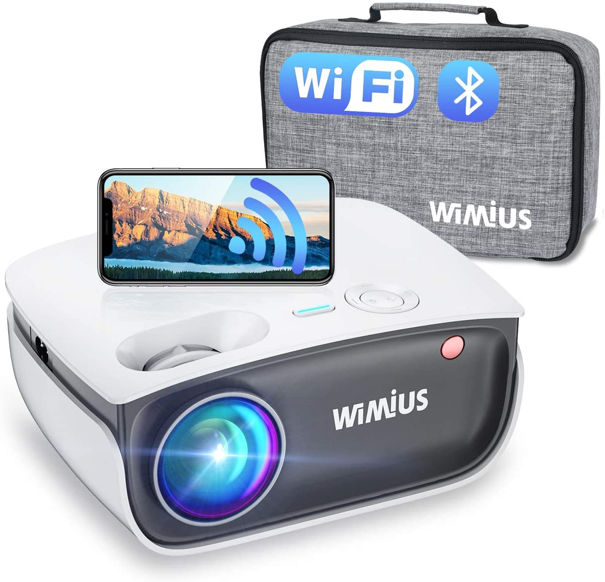 Wifi Bluetooth Projector Support 1080P Full HD Enhanced, 20%+ Brightness, WiMiUS S25 Mini Portable Outdoor Movie Projector w/ Wireless Mirroring & Airplay & Zoom 50%, for Fire TV Stick, HDMI, PC, PS4