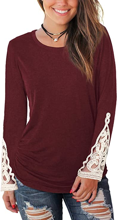 WIHOLL Long Sleeve Shirts for Women Casual Round Neck Lace Ruched Tunic Tops