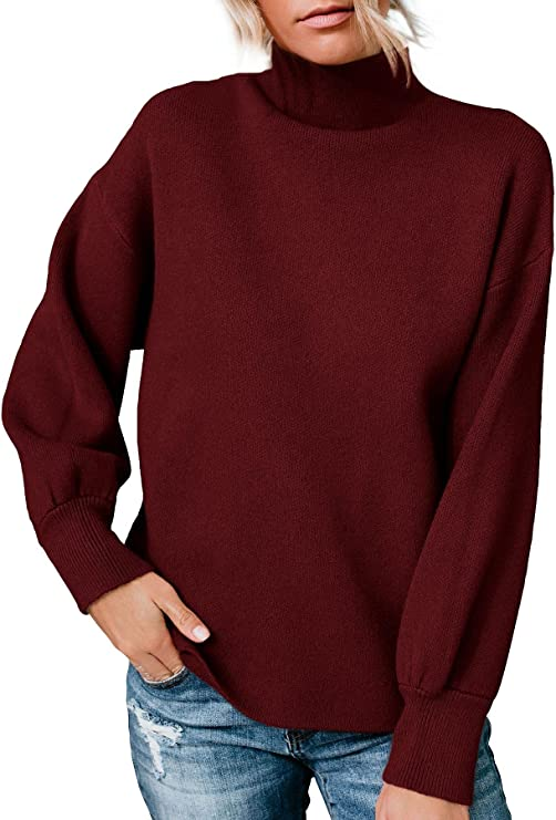 Women's Mock Neck Long Sleeve Pullover Sweater Ribbed Knit Basic Loose Fit Winter Jumper Tops Cream