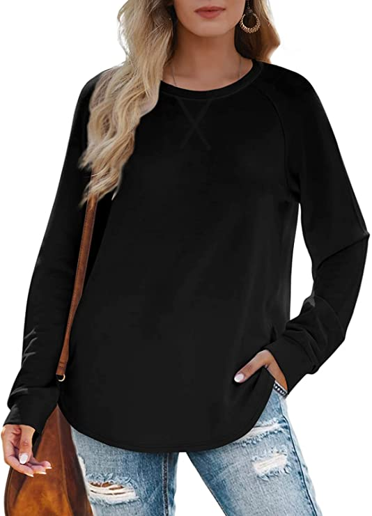 Womens Sweatshirts Crewneck Loose Fitting Tops For Women Long Sleeve Shirts Pullover
