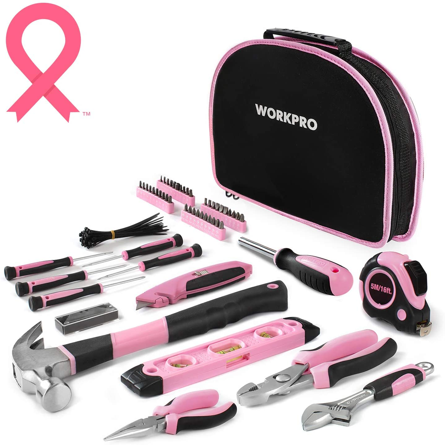 WORKPRO 103-Piece Pink Tool Kit - Ladies Hand Tool Set with Easy Carrying Round Pouch - Durable, Long Lasting Chrome Finish Tools - Perfect for DIY, Home Maintenance - Pink Ribbon