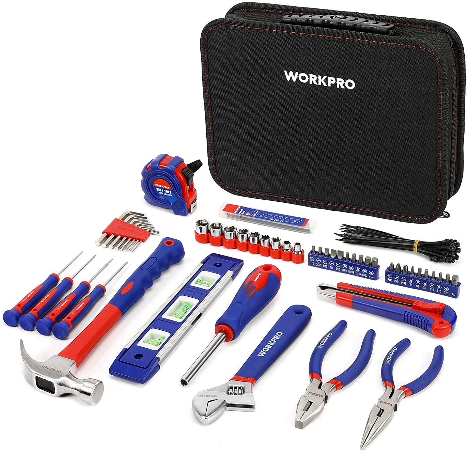WORKPRO Home Tool Kit, 100 Piece Kitchen Drawer Household Hand Tool Set with Easy Carrying Pouch