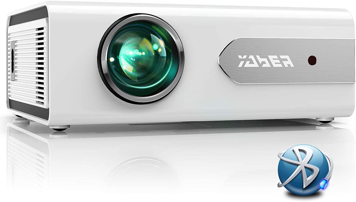 YABER V3 Mini Bluetooth Projector 6000L Full HD 1080P and Zoom Supported, Portable LCD LED Home & Outdoor Projector for iOS/Android/TV Stick/PS4/PC/Bluetooth Speaker (White)