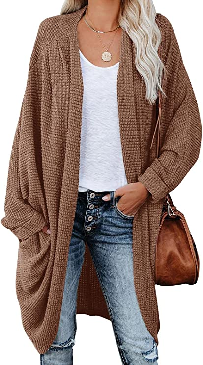 ZoeAce Womens Open Front Knit Cardigan Long Batwing Sleeve Oversized Sweater Chunky Waffle Cable Boho Pockets Coat
